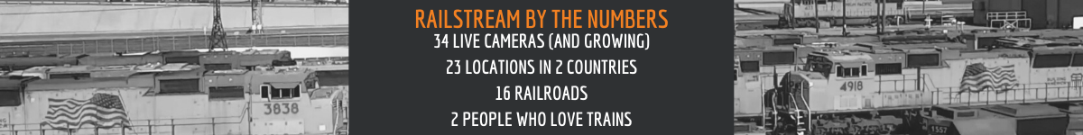 Stats: 34 cameras, 23 locations, 16 railroads.